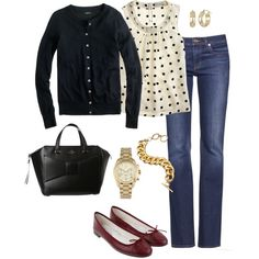 Cute outfit, shirt and sweater could be paired with dressy pants for work too.