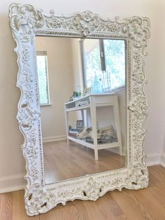 Hand painted in antique white and gold leaf. Can be used as a vanity mirror, entryway mirror, bedroom mirror or in your living or dining room. White Vintage Mirror, White Ornate Mirror, Baroque Mirror, Vintage Mirrors, Gold Mirrors, White Ornate Bedroom Furniture, Home Decor Furniture, Shabby Chic Furniture, Furniture Buyers
