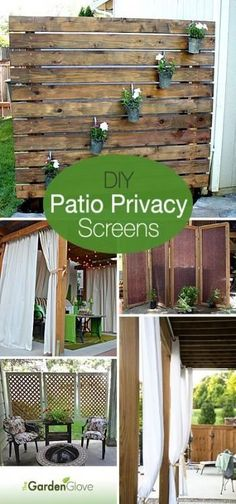 DIY Patio Privacy Screens If you like to lounge on your patio, without prying eyes,try outdoor privacy screens. We have DIY patio privacy screens and solutions for you! Backyard Privacy Screen, Outdoor Privacy, Privacy Screens, Privacy Plants, Pond Plants, Privacy Fences, Small Backyard Landscaping, Small Patio, Backyard Patio
