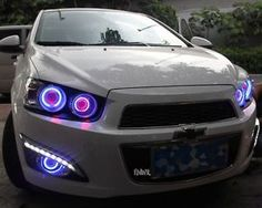 2x LED DRL Daytime Day Fog Lights +Angel Eyes For Chevrolet Sonic Aveo 2011-2013