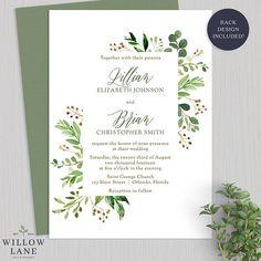 Greenery Wedding Invitation Botanical Wedding Invitations