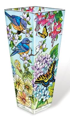 Amia Vase with Bluebird and Butterfly Design, 10-Inch, Hand Painted Glass