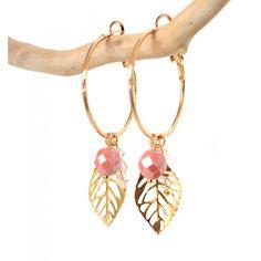 Gouden oorbellen creolen met roze hanger - www.Mbijoux.nl #creolen #earrings #roze #oorbellen #goud