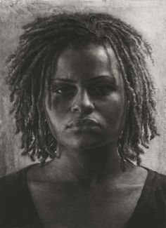 Mary Borgman  Portrait of Shakira Wilson  charcoal on mylar    h 60  w 44 inches