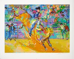 """Adriano, World Champion Bull Rider on Yellow"" LeRoy Neiman - Park West Gallery"