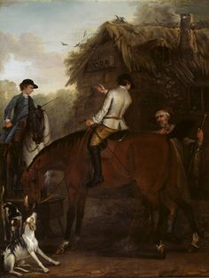 John Wootton, 'Viscount Weymouths Hunt: Two Hunt Servants on Hunters beside a Cottage' 1733-6