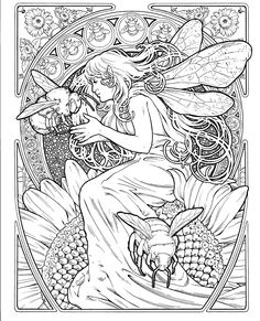 Fairy Coloring Pages, Coloring Pages To Print, Printable Coloring Pages, Coloring Sheets, Coloring Books, Alphonse Mucha Art, Free Adult Coloring, Fairy Art, Colorful Drawings