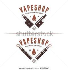 Vape shop emblem templates. Vaping related labels badges and design elements. Vector vintage illustration.