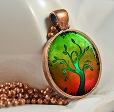 Cocktail Tree Pendant Resin Pendant Picture Pendant by artyscapes, $9.50