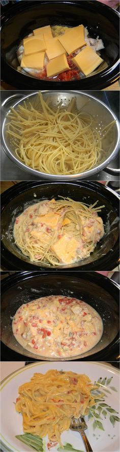 Crock pot Cheesy Chicken Spaghetti: I like the idea, but I'd make a lot of changes personally. Canned chicken and velveeta just sounds a bit disturbing.