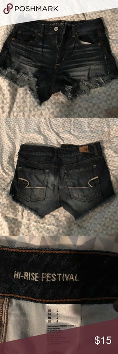 American eagle shorts My favorite pair of shorts just sadly I've out grown them. I bought them last summer and have worn them dancing a couple times. They look brand new and are super comfortable. Size 4 high rise. American Eagle Outfitters Shorts Jean Shorts