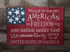 Large Wood Sign - Proud to Be an American - USA - Subway Sign - Farmhouse Sign - Patriotic Sign - Pledge of Allegiance Sign - of July Patriotic Crafts, Patriotic Decorations, July Crafts, Holiday Crafts, Summer Crafts, Holiday Decorations, Seasonal Decor, Pallet Crafts, Pallet Art