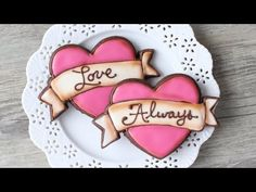 Valentine's cookies - heart with ribbon banner - Detailed Video tutorial - YouTube.com/montrealconfections