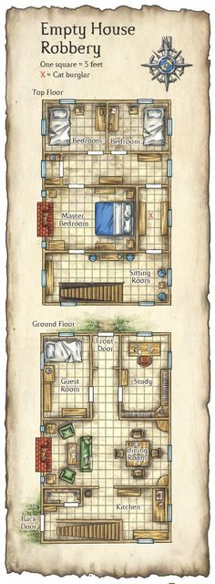 Floorplan of a two-storey home. House Map, D House, Farm House, Fantasy City, Fantasy Map, Pathfinder Maps, Rpg Map, Pen & Paper, Building Map