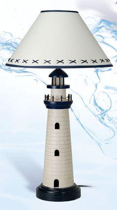 Lighthouse lamp for a nautical themed nursery