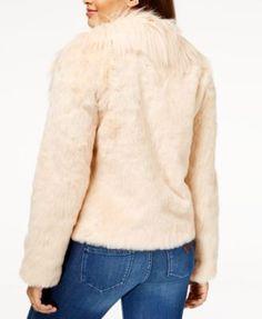 Guess Juniors' Agata Faux-Fur Coat - Black XS