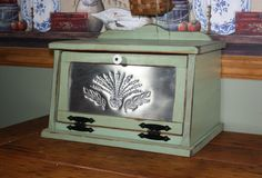Bread Box, Shabby Chic, Punched Tin, Wood, Kitchen, Cottage, Country. $74.95, via Etsy.