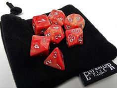 Rose and Ivory Swirl Dice Collection - 7 Piece Set
