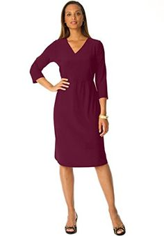 09b12068f7f Jessica London Womens Plus Size Surplice Knit Dress Midnight Berry28   More  info could be found