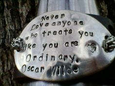 Upcycled belt leather cuff-Oscar Wilde quote hand stamped Silverware Jewelry- OOAK  Silverware'ables. $25.00, via Etsy.