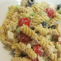 Macaroni Tuna Salad  1(16 oz)pack elbow macaroni  2(6 oz)can whitetuna,drain  2 stalk celery,mince  1onion,mince  2C mayonnaise  1(5 oz)jar pimento-stuff gr olive,drain  pint grape tomato  S&P  opt blk olives Bring salt water to boil over high heat-Cook  pasta uncovered,stir occasionally,til pasta has cooked but is still firm, 8 min.Drain well in colander-put in bowl-cool in fridge , toss tuna w celery,onion,& 1C mayo to mix-stir in rest of mayo,macaroni,olive,grape tomato-S&P.Chill 1hr