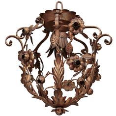 Small Brass One Light Tole Hanging Fixture | From a unique collection of antique and modern chandeliers and pendants  at http://www.1stdibs.com/furniture/lighting/chandeliers-pendant-lights/