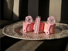 napkin ring idea for girl birthday party. Other 2: idea for baby girl shower (the rattles have little orange balls in them and actually rattle)! Hand painted.