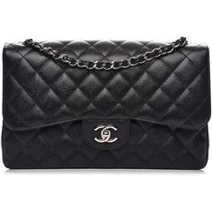 CHANEL Caviar Quilted Jumbo Double Flap Black ❤ liked on Polyvore featuring bags, handbags, shoulder bags, genuine leather shoulder bag, quilted chain strap shoulder bag, shoulder handbags, leather shoulder handbags and quilted leather purse