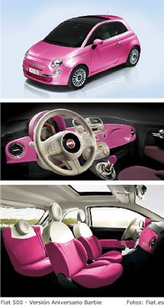 This is the new car I want...... No. Seriously. Is it for sale to the public? Sign me up! Fiat 500 Barbie