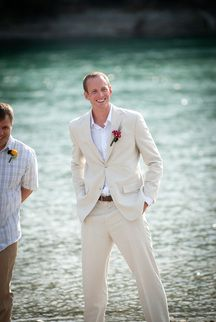 Ceremony: Groom on River Bank by Bailey Nicole Photography