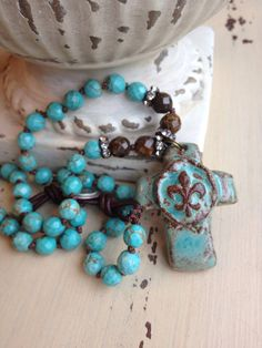 Artisan turquoise pottery cross long hand knotted gemstone boho chic blue/brown versatile necklace by MarleeLovesRoxy on Etsy, $78.00