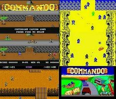 Commando Computer Game screenshot montage (1986). From top left to bottom right - C64 title screen and gameplay screenshot, Atari 7800 version, ZX Spectrum version and Amstrad CPC 464 title screen.