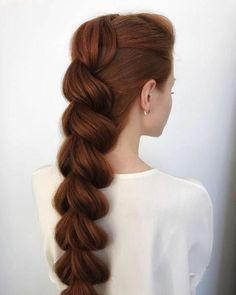 elegant sleek long pull through braid Check out our 40 best ideas (Definitive Guide) how to style a pull through braids that less boring and start to create your eye-cathing braids! Long Face Hairstyles, Box Braids Hairstyles, Braided Hairstyles For Long Hair, 1920s Hairstyles, Curly Hair Styles, Natural Hair Styles, Pull Through Braid, Braids For Long Hair, Long Ponytails