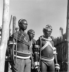 Africa | Ndebele men, dressed for a rare initiation ceremony. Ndebele settlement near Pretoria, South Africa | ©Constance Stuart Larrabee, 1936 - 1949