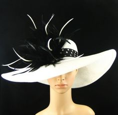 New Church Kentucky Derby White Hat Feathers Wide Brim Dress Wedding Tea Party | eBay...my favorite
