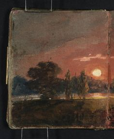 Joseph Mallord William Turner 'Sunset over a River', 1796–7 - Gouache, graphite and watercolour on paper -  Dimensions Support: 113 x 93 mm -  Collection -  Tate