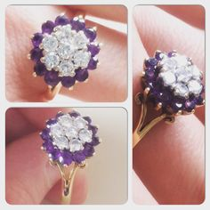 Dazzling vintage and cluster - what's not to love? Amethyst Cluster, Cluster Ring, Pretty Rings, Vintage Diamond, Stud Earrings, Jewelry, Jewlery, Bijoux, Beautiful Rings