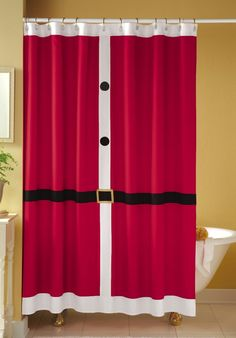 Santa Shower Curtains would be a very easy and festive way to decorate a bathroom for the Holidays!