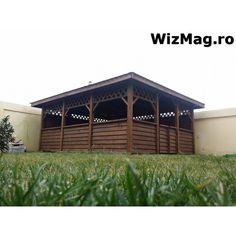 Foisor acoperit cu sindrila bituminoasa dreptunghiular Calarasi Shed, Outdoor Structures, Cabin, House Styles, Home Decor, Italia, Decoration Home, Room Decor, Cottage