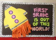 The best back to school bulletin board ideas to dress up the school this year. These back to school bulletin board ideas will get kids excited. Space Bulletin Boards, Kindergarten Bulletin Boards, Back To School Bulletin Boards, Bulletin Board Display, Preschool Bulletin, Classroom Bulletin Boards, Classroom Door, Classroom Ideas, Classroom Displays