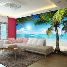 3d room wallpaper custom HD photo murals/Palm Beach yacht seagull/TV/sofa/Bedroom/KTV/bar/Hotel/living room