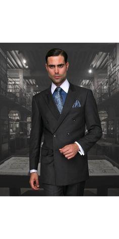 Men's 2 Pc DB Fashion Suit by STATEMENT - H.Charcoal