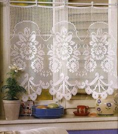 Crochet Curtain Patterns Part 3 - Beautiful Crochet Patterns and Knitting Patterns Crochet Curtain Pattern, Crochet Curtains, Curtain Patterns, Knitting Patterns, Crochet Patterns, European Decor, Curtain Holder, Macrame Curtain, Lace Curtains