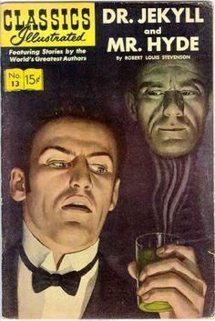 013 Dr Jekyll and Mr Hyde, Stevenson Vintage Comic Books, Vintage Comics, Caricatures, Roman, Jekyll And Mr Hyde, Best Horror Movies, Horror Films, Robert Louis Stevenson, Film D'animation
