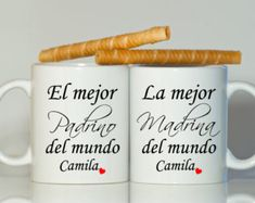 Español padrino MADRINA o PADRINO tazas padrinos por BabyCakeLane Godparent Gifts, Baptism Gifts, Baptism Ideas, New Daddy Gifts, Gifts For Husband, Ideas Bautizo, Pregnancy Announcement To Husband, Best Aunt, Calla Lilies