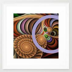 Pattern in motion, fractal geometric art Framed Art Print