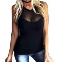 Summer Women' Sexy Black Blouses Shirts Ladies V Neck Sleeveless Backless Casual Blusas Mesh Splice See Through Slim Tops Plus Size Women's Tops, Plus Size Blouses, T-shirt Dos Nu, Chemises Sexy, Sexy Bluse, Mesh Clothing, Female Clothing, Top Mode, Mesh T Shirt