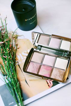 Gold plated, mirrored and square makeup palette