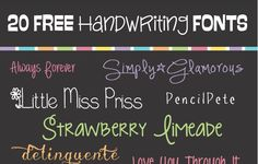 I hope you found some fun and creative uses for my last font list (20 Free Creative Fonts). Here is a list of 20 Free Handwriting Fonts for your next project. To download fonts: Click the name of the font you want (under the image). It will take you to the website where you can …