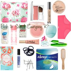 Back to school emergency kit by sophie-talley on Polyvore featuring beauty, Clinique, Paul & Joe, Urban Decay, Victoria's Secret PINK, Marc Jacobs, Pacifica, Eos, Forever 21 and Philip Kingsley
